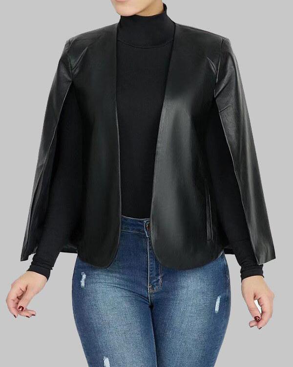Faux Leather Cape Jacket
