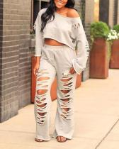 Casual Cotton Ripped Cropped Top & Flared Pants Set