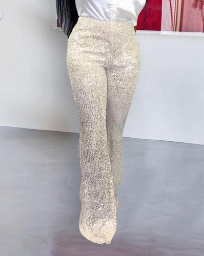 Sequined Wide-leg Trousers Pants