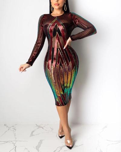 Sequin Sheer Colorful Dress