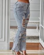 Distressed Side-Slit Jeans