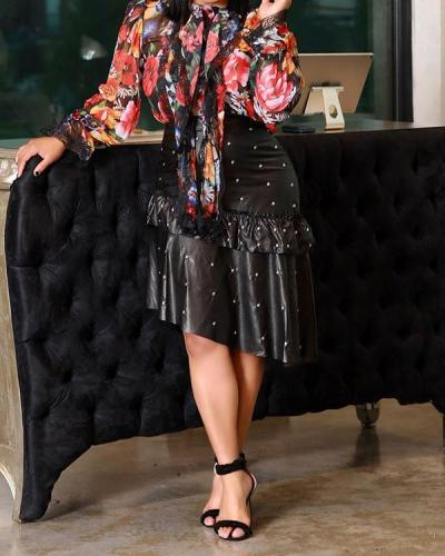 Pearl Studded Ruffle PU Skirt