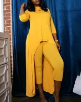 Solid Color Big Swing Two-piece Suit