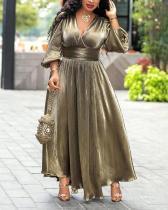 V-neck High Waist Bronzing Dress Slit Long Dress