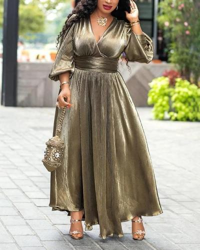 V-neck High Waist Bronzing Dress Slit Long Dress