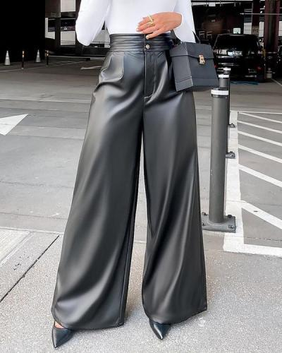 PU Faux-Leather Wide-Leg Pants