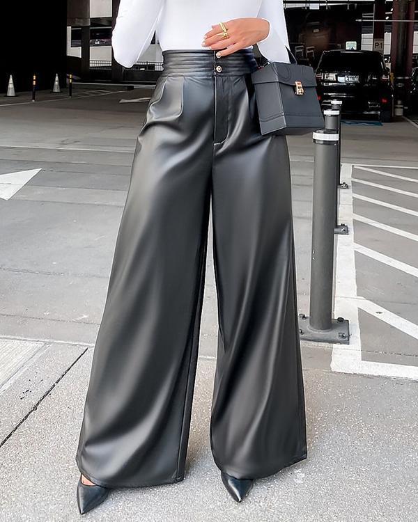 PU Faux-Leather Wide-Leg Pants
