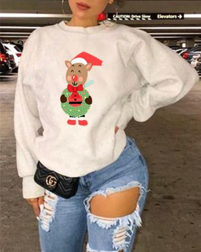 Cartoon Christmas Animal Print Long Sleeve Sweatshirt