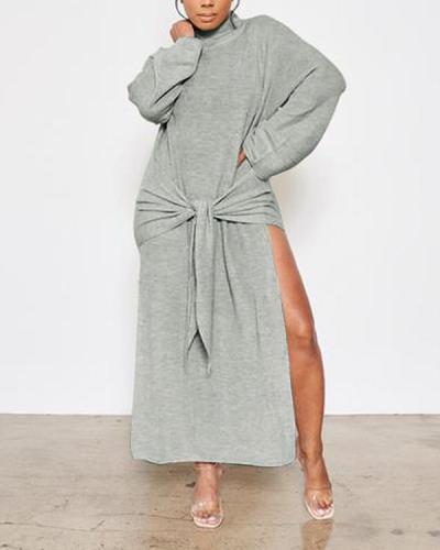 Tied-Front Slit Dress