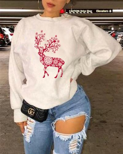 Cartoon Deer Christmas Animal Print Long Sleeve Sweatshirt