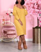 Solid Color V-Neck Long Sleeve Midi Dress