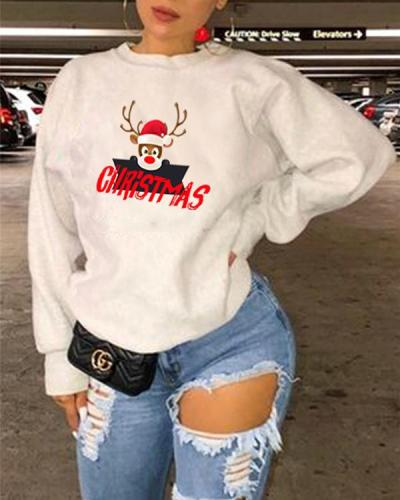 Christmas Animal Print Long Sleeve Sweatshirt