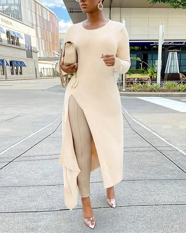 Sexy Solid Slit O Neck Long Sleeve Dress