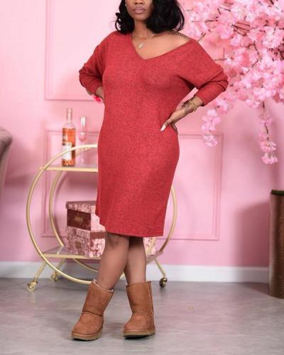 Solid Color V-Neck Long Sleeve Midi Dress