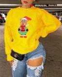 Cartoon Christmas Animal Print Long Sleeve Sweatshirt
