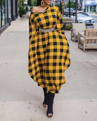 Yellow Plaid Round Neck Dress