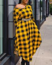 Yellow Plaid Round Neck Dress