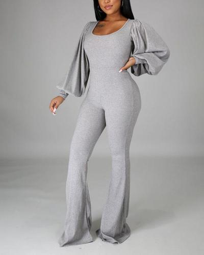 Round Neck Solid Color Jumpsuit