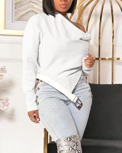 Sloping Shoulder Top With Belt