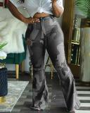 Camo Print Broken Holes Green Plus Size Pants