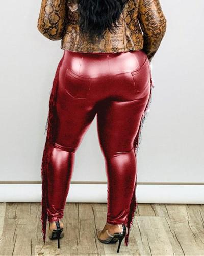 Trendy Tassel Design Red Plus Size Pants