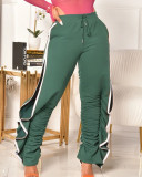 Contrast Color Pleated Elastic Irregular Sports Casual Pants