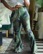 Camo Print Broken Holes Green Plus Size Pants
