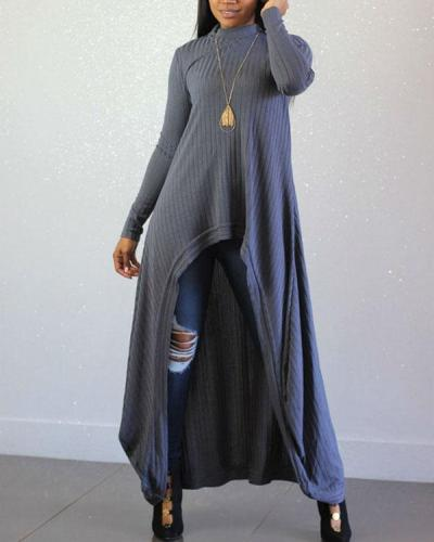 Knitted Pit Strip Long Sleeve Sexy Irregular Dress
