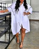 Plus Size Simple Irregular Mid-length Loose Casual Shirt Dress