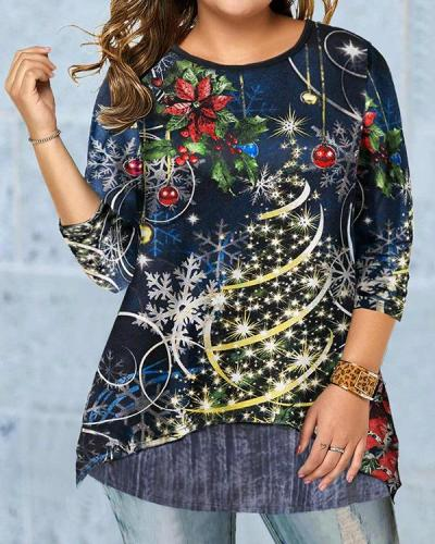 Digital Print Christmas Tree Long Sleeves A-line T-shirt