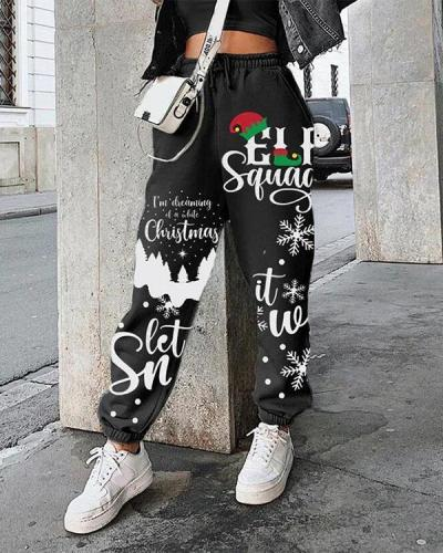 Christmas Print Plus Velvet Loose Sports Pants