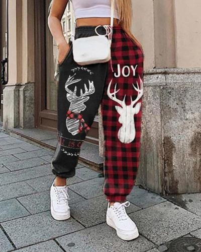 Patchwork Christmas Print Plus Velvet Loose Sports Pants