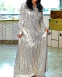 One-sided Bronzing Stitching Dress with Belt