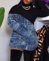 Printed Stitching Round High Neck Jacket Dress