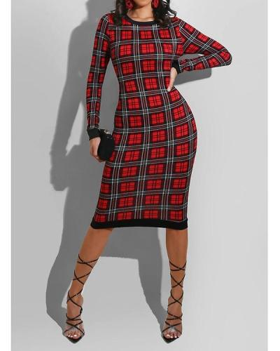 Casual Plaid Print Patchwork Skinny White Knee Length Dress