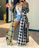 Casual Plaid Print Patchwork Multicolor Trench Coat