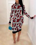 Casual Plaid Print Patchwork Skinny White Knee Length Dress
