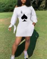 Knotted Oblique Shoulder Solid Color Dress