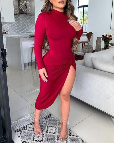 Solid Color Slit Tight Dress