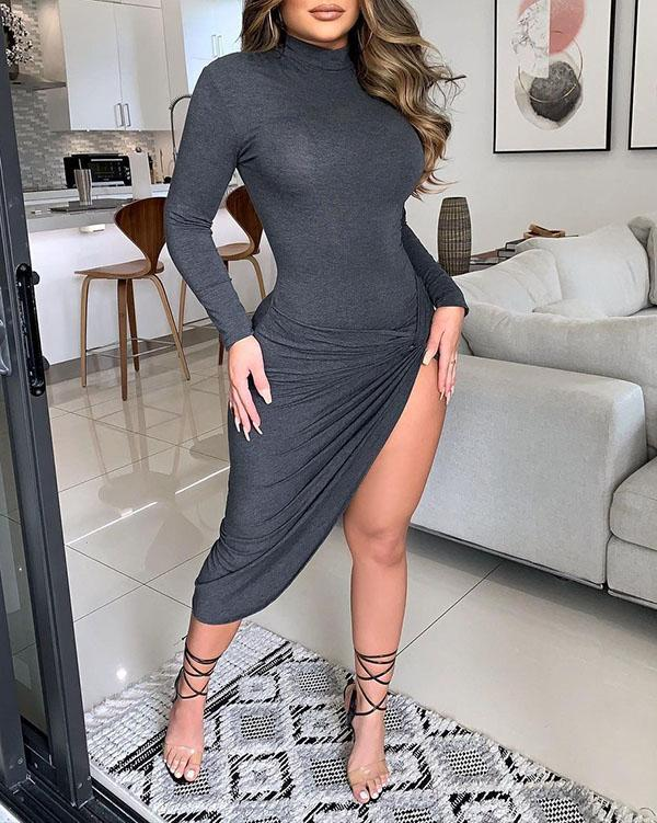 Solid Color Slit Tight Dress