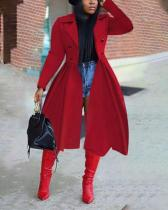 Double-breasted Lapel Trench Jacket Long Coat