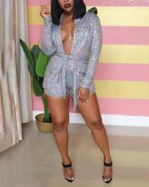 Sexy Sequins Bronzing Nightclub Long Sleeve Two-piece Suit