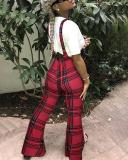 Plaid print Suspenders One-piece Slim Trousers Zipper Casual Flared Pants