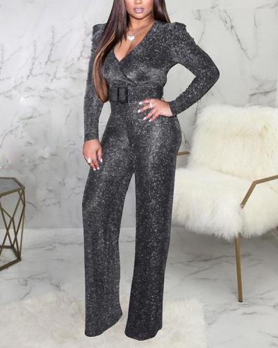 Glitter Wrap V Neck Long Sleeve Chic Jumpsuit