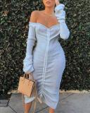 Trendy Dew Shoulder White Mid Calf Dress