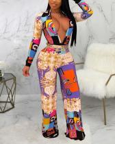 Sexy Digital Print Long Sleeve V-neck Jumpsuit