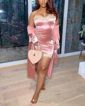 Lace Patchwork Mini Dress & Cardigan