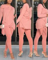 Casual Solid Color Bow Long Sleeve Two-piece Suit