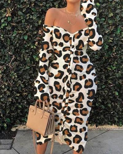 Off The Shoulder Leopard Print Mid Calf Plus Size Dress