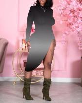 Gradient Print Side Slit Midi Dress